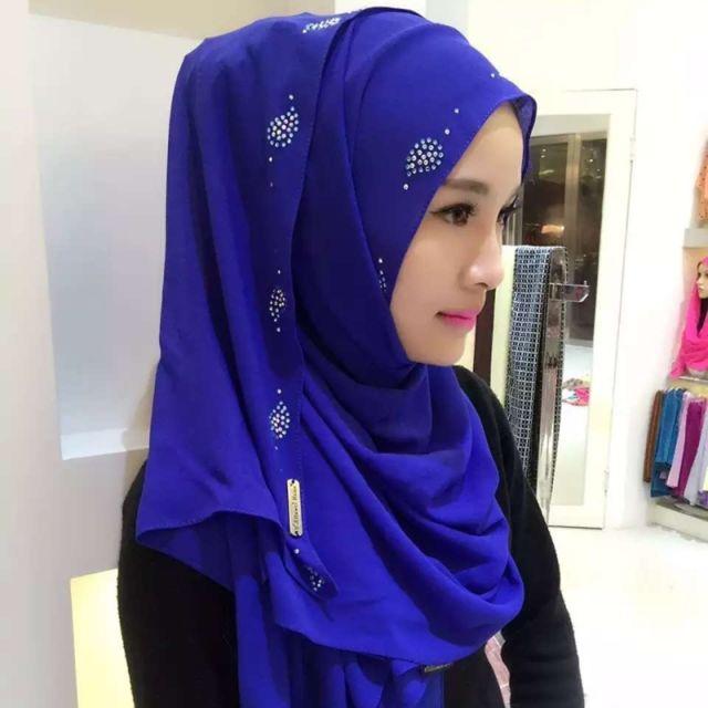 Wewoo - Strass en Mousseline de Soie Perle Caché Boucle Foulard Femme  Nationalité Style Foulard Hijab Foulard Musulman Bleu - pas cher Achat    Vente ... 319586b206c