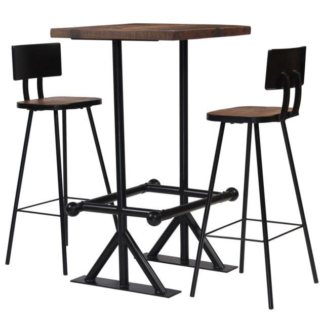 Vidaxl Mobilier de Bar 3 pcs Bois de Récupération Massif Table Chaises Maison