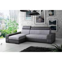 Meublesline - Canapé d'angle convertible Capri 4 places tissu gris simili cuir