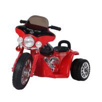 HOMCOM - Moto électrique pour enfants chopper police 6 V env. 3 Km/h 3 roues effet lumineux et sonore noir et rouge neuf 32RD
