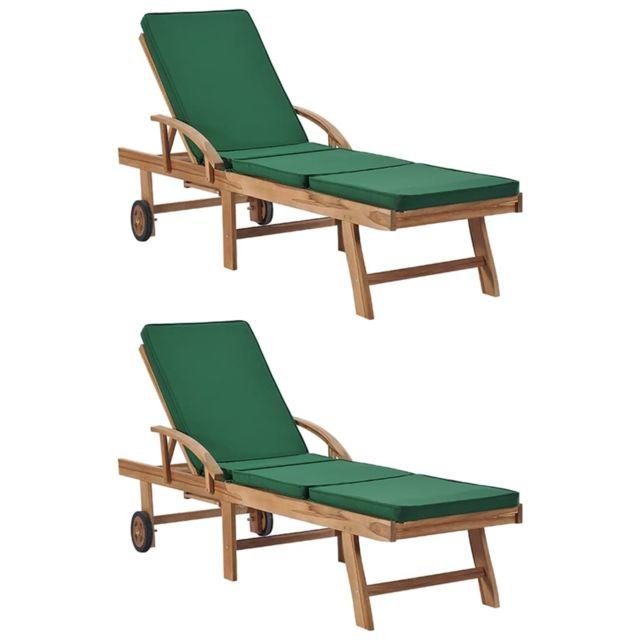 Uco Chaises longues avec coussins 2 pcs Bois de teck solide Vert