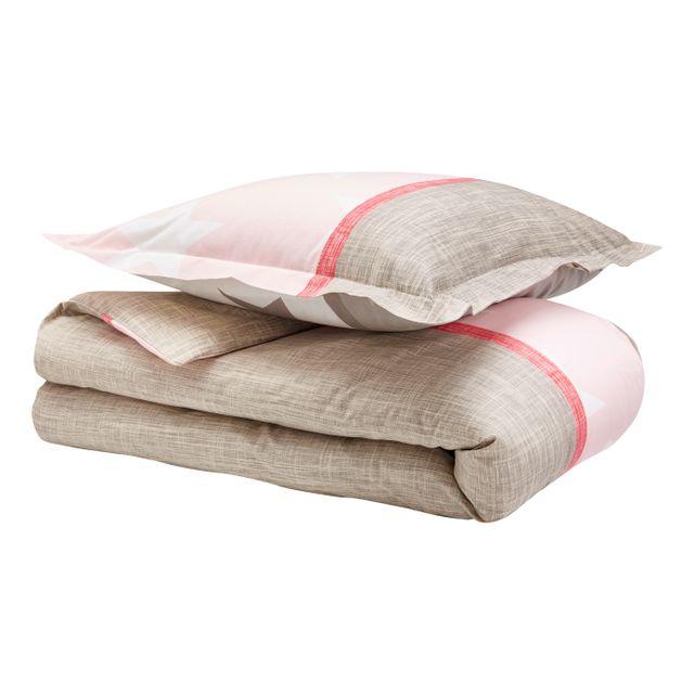 TEX HOME Parure housse de couette STARLETTE + 1 taie d'oreiller en coton Parure housse de couette 140x200 cm + 1 taie d'oreiller 65x65 cm en coton - rose