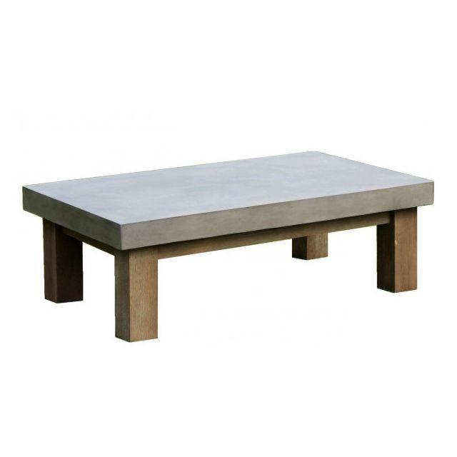 Mathi Design Beton - Table basse de salon béton & bois