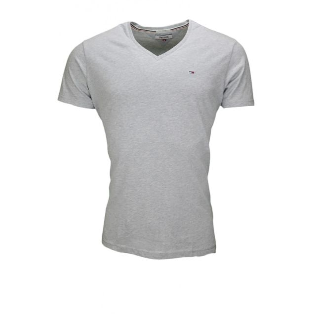 09fed6fa613 Tommy hilfiger - T-shirt basique gris pour homme - pas cher Achat   Vente Tee  shirt homme - RueDuCommerce