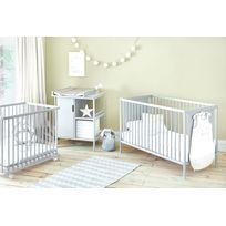 ATELIERS T4 - Ensemble lit bébé + commode à langer 1 porte - 2 étagères
