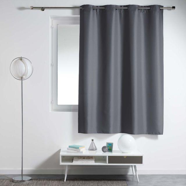 Douceur dInt/érieur Punchy Rideau avec Oeillets Polyester Uni Fuchsia 140 x 260 cm
