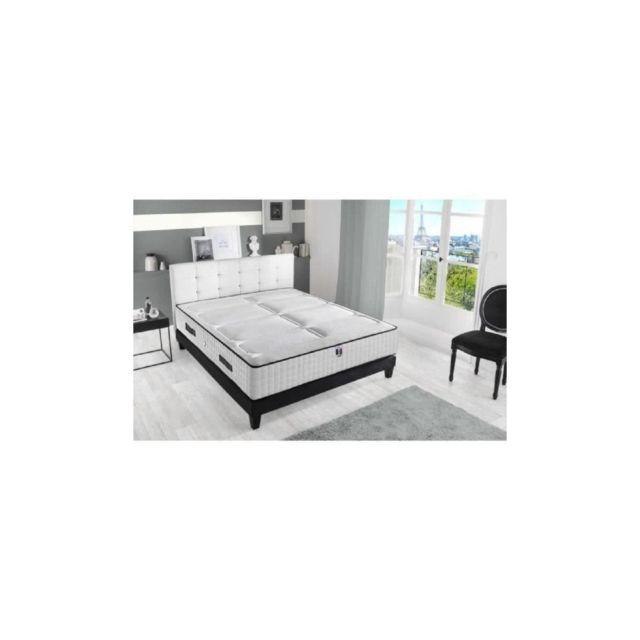 Confort Design Ensemble Matelas + Sommier 160x200 - 792 Ressorts - 30 Cm - 7 Zones - Ferme - Hotel Luxe