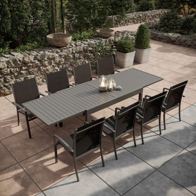 Avril Paris - Table de jardin extensible aluminium 135/270cm + 8 ...