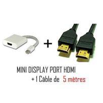 Cabling - Mini DisplayPort vers Hdmi + cable Hdmi 5 mètres - Cordon adaptateur vidéo pour Apple iMac-Unibody MacBook - Pro - Air et Pc avec Mini Dp etc