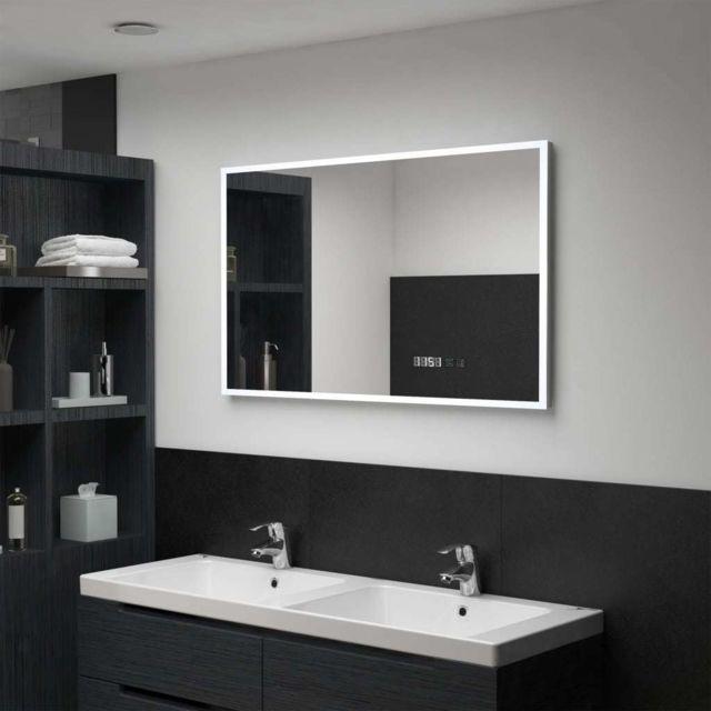 Vidaxl Miroir à Led et capteur tactile et affichage d'heure 100x60 cm