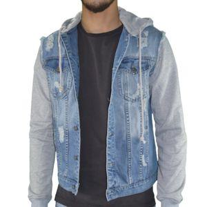 Veste bleue jean gris