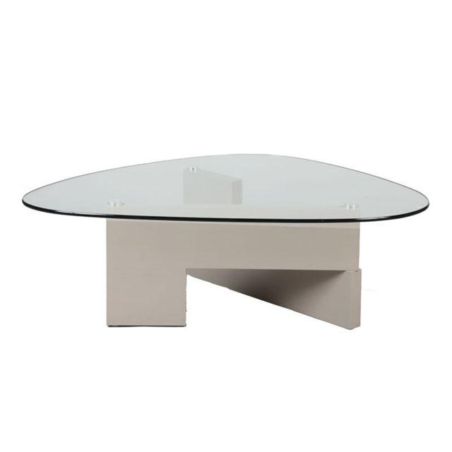 Tousmesmeubles Table basse verre et bois - Gambetta