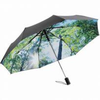 Fare - Parapluie de poche- Fp5593 - noir et imprimé forêt