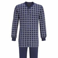 Ringella - Pyjama long forme jogging en coton : tee-shirt manches longues col tunisien bleu marine à carreaux blancs, pantalon bleu marine