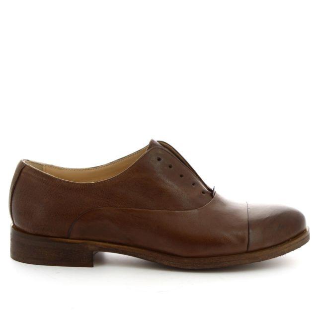 Leonardo Shoes Femme 1914DARKBROWN Marron Cuir Chaussures À Lacets