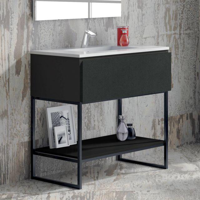Meuble salle de bain noir 80 cm 1 tiroir + vasque céramique, Metal
