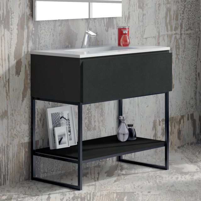 Aquae Line - Meuble salle de bain noir 80 cm 1 tiroir + vasque ...
