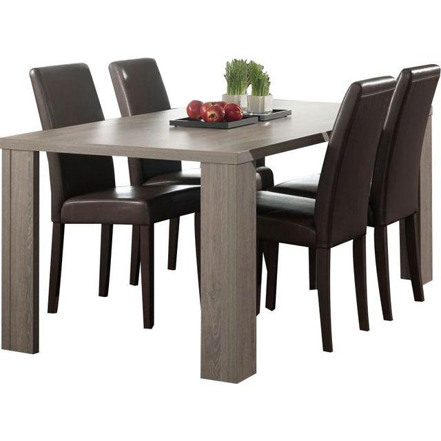 Comforium table de salle manger contemporain coloris ch ne espagnol marron 0cm x 0cm x 0cm for Salle a manger en espagnol