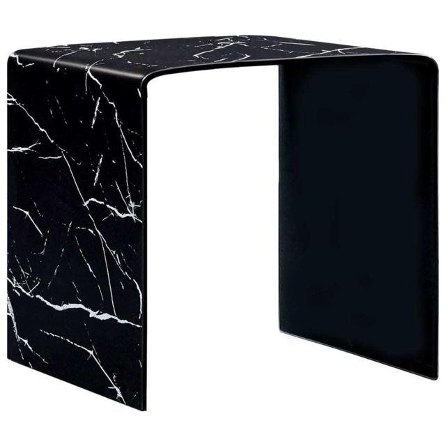 Vidaxl Table Basse Noir Marbre 50x50x45 cm Verre Trempé Table d'Appoint Salon