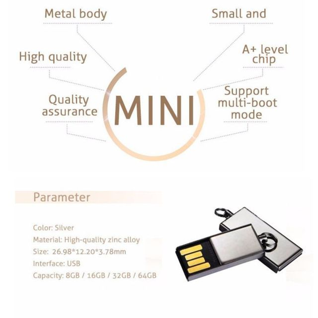 16 Go Mini Clé USB Clef Mémoire Flash U Disque Ultra Compact