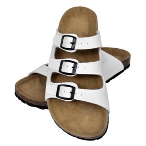 Sandales unisexes blanches en liège bio avec 3 brides à boucle T 36 XNAMu
