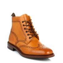 Loake - Mens Tan Burford Dainite Calf Leather Brogue Boots-UK 7