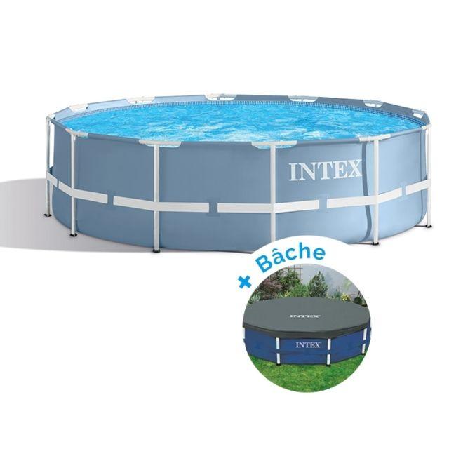 intex pack piscine tubulaire ronde prism frame 3 66 x 0 99 m b che pas cher achat vente. Black Bedroom Furniture Sets. Home Design Ideas