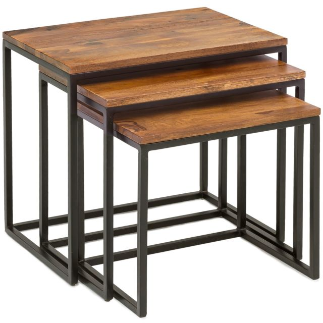 Table marron 3 Ensemble rustique en gigognes COMFORIUM de ON0yvnwm8