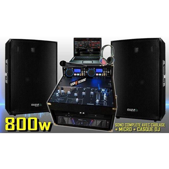 Ibiza Sound Pack sono complète 800w - 2 enceintes sono ampli double lecteur cd usb mp3 mixage micro dj casque - la totale