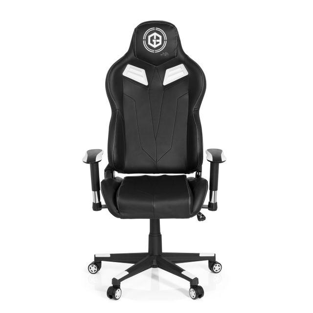 Hjh Office Chaise de bureau gaming / fauteuil gamer Gamebreaker Vr 12 simili-cuir noir