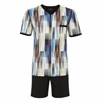 Ringella - Pyjama court : Tee-shirt col V à rayures dégradées multicolores et short uni noir
