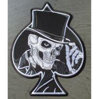 Universel - Gros patch crane chapeau as pique noir 28x22 cm ecusson dos veste blouson