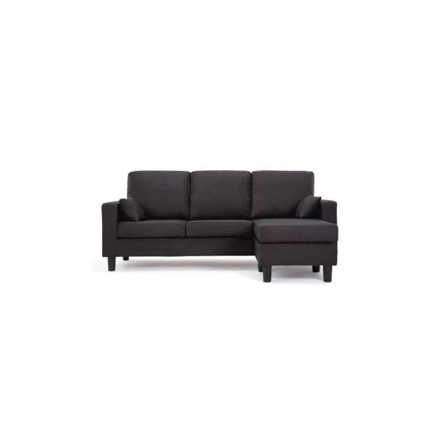 Sans Marque Berlin Canape Dangle Reversible 3 Places - Tissu Noir - Contemporain - L 185 X P 128 Cm