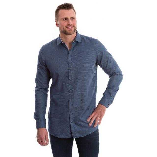 Venti Chemise bleu marine à petits motifs bleu ciel