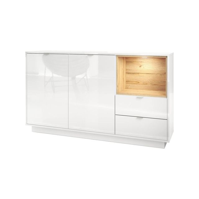 Mpc Buffet 153 cm laqu? blanc avec insertion en ch?ne naturel Mdf