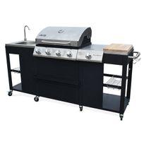 - Barbecue au gaz D'Artagnan 4+1 brûleurs + évier + planche + thermomètre + ustensiles