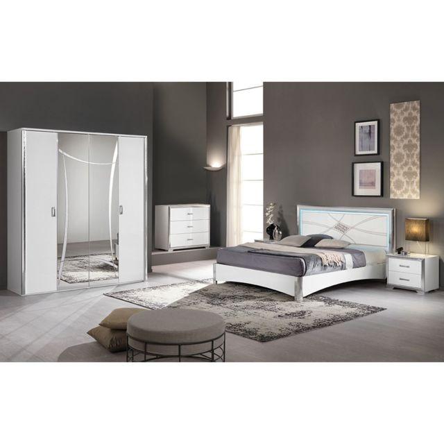 Altobuy Loona - Chambre Complète 160x200cm avec Armoire