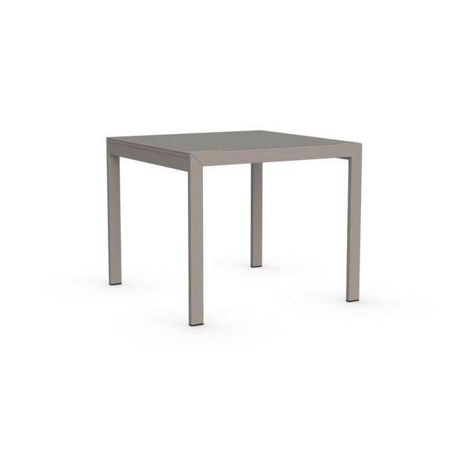 Inside 75 Table repas extensible Key 90x89 plateau verre grège
