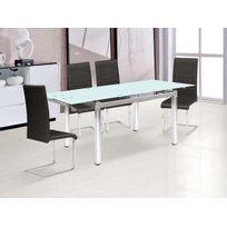 Habitat et Jardin - Table repas extensible Sterna en verre - 120/180 x 80 x 75 cm
