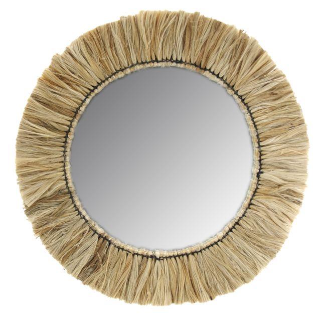 AUBRY GASPARD Miroir rond en jonc naturel