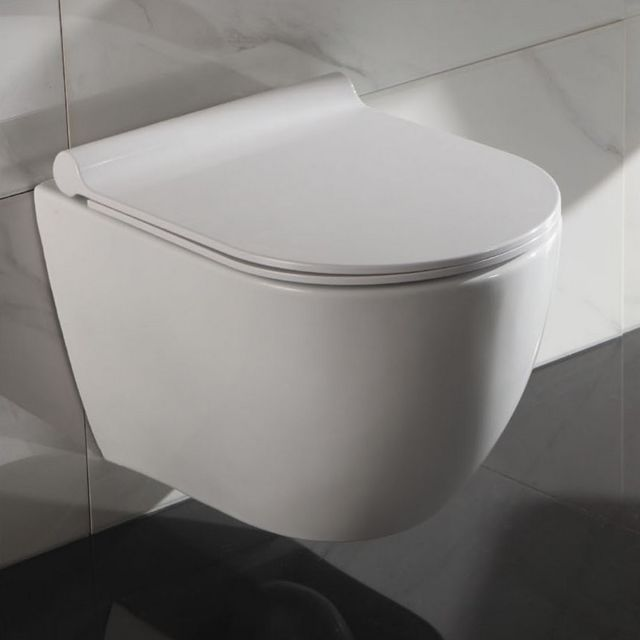 Rue Du Bain - Wc Suspendu Ovale - Avec Abattant - Céramique Blanc ... c9777dda0627