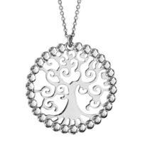 1001BIJOUX - Collier argent rhodié pendentif arbre de vie contour dentelle 40+5cm
