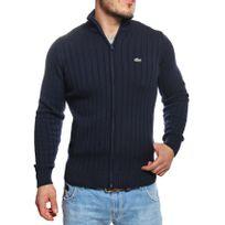 Lacoste - Gilet zippé homme bleu marine en coton