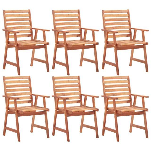 Vidaxl Chaises de salle à manger d'extérieur 6 pcs Acacia massif