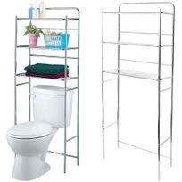 Promobo - Etagère Pour Toilettes Et Wc Rangement Trois Niveaux Inox
