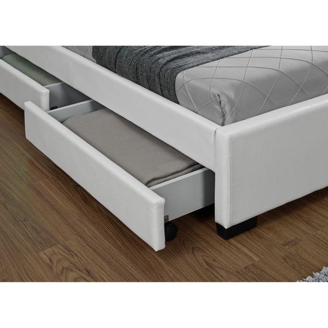 CONCEPT USINE - Lit Enfield Blanc - tête de lit LED et rangements 4 tiroirs