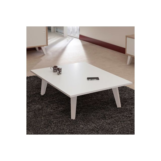 Table basse sur pieds inclinés plateau blanc
