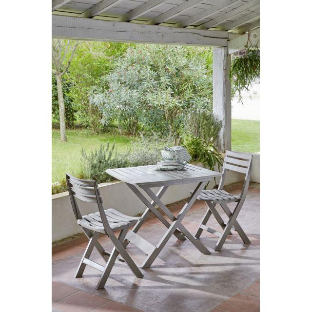 CARREFOUR - Set Balcon 1 table + 2 chaises - Taupe - pas cher Achat ...