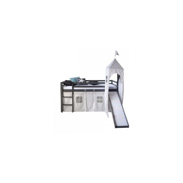 Homestyle4U Lit mezzanine gris 90x200 avec toboggan tour echelle et rideau etoiles