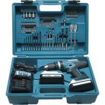 Makita - Perceuse visseuse à percussion 18 V Li-Ion 1,3 Ah Ø 13 mm kit d'accessoires HP457DWE10